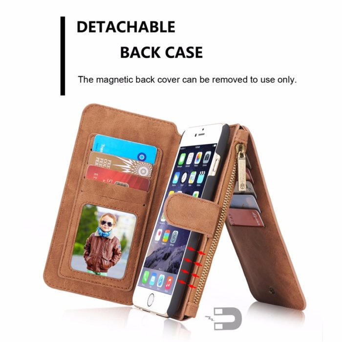 Multi-Functional Detachable Wallet Flip Cover for iPhone 6 Plus and 6S Plus 3